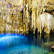 The natural underground swimming hole at Cenote Xkeken at Dzitnup, near Valladolid, Yucatan, Mexico
