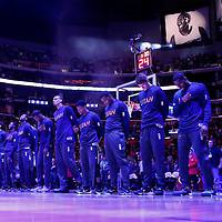 25 November 2015:  Utah Jazz center Rudy Gobert (27) and his teammates are seen during the national anthem prior to the Utah Jazz 102-91 victory over the Los Angeles Clippers, at the Staples Center, Los Angeles, California, USA.