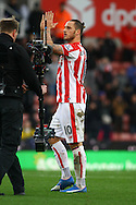 Marko Arnautovic of Stoke City shows his appreciation to the home fans after the game. Barclays Premier league match, Stoke city v Manchester city at the Britannia Stadium in Stoke on Trent, Staffs on Saturday 5th December 2015.<br /> pic by Chris Stading, Andrew Orchard sports photography.