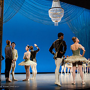 Boston Ballet dancers in rehearsal at the Boston Opera House for George Balanchine's 'Theme and Variations'