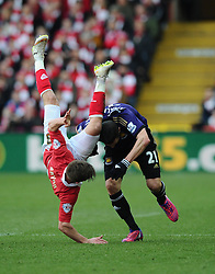 Bristol City's Joe Bryan is fouled by West Ham's Morgan Amalfitano  - Photo mandatory by-line: Joe Meredith/JMP - Mobile: 07966 386802 - 25/01/2015 - SPORT - Football - Bristol - Ashton Gate - Bristol City v West Ham United - FA Cup Fourth Round