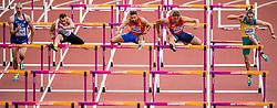 12-08-2017 IAAF World Championships Athletics day 9, London<br /> Met een tijd van 14,32 seconden noteerde Eelco Sintnicolaas NED (tienkamp) de zevende tijd op de 110 meter horden. Rechts Adam Sebastian Helcelet CZE