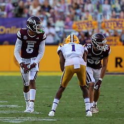 Sep 26, 2020; Baton Rouge, Louisiana, USA; Mississippi State Bulldogs wide receiver Osirus Mitchell (5) against the LSU Tigers during the second half at Tiger Stadium. Mandatory Credit: Derick E. Hingle-USA TODAY Sports