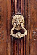 Traditional brass door knocker, Madrid, Spain