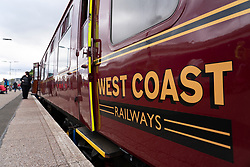 West Coast Railways carriage carrying tourists on Jacobite steam train at Fort William Station in Scotland, UK