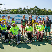 August 24, 2016, New Haven, Connecticut: <br /> Raquel Kops-Jones and Abigail Spears attend a wheelchair tennis clinic during Day 6 of the 2016 Connecticut Open at the Yale University Tennis Center on Wednesday, August  24, 2016 in New Haven, Connecticut. <br /> (Photo by Billie Weiss/Connecticut Open)