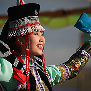 Mongolian dancer in traditional costume (, Mongolia - Aug. 2008) (Image ID: 080830-1200251a)