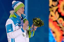 10-02-2014 ALGEMEEN: OLYMPIC GAMES MEDAILLE CEREMONIE: SOTSJI<br /> Ceremony Medal Plaza / Silver medal Peter Prevc SLO on Ski Jumping <br /> ©2014-FotoHoogendoorn.nl