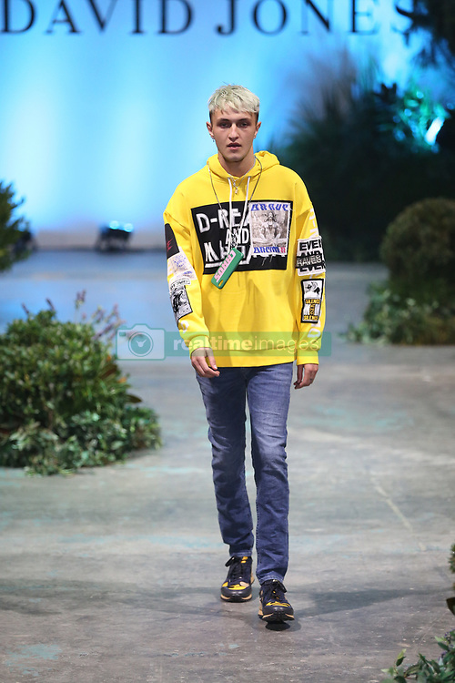 The spectacular runway show, held at Fox Studios starred international talent Karolina Kurakova, Anwar Hadid, Adut Akech and David Jones ambassadors, Jessica Gomes and Victoria Lee showcasing David Jones' exclusive range of Australian and International designers. 08 Aug 2018 Pictured: Anwar Hadid, model, wearing, Diesel, yellow sweatshirt, denim jean. Photo credit: Richard Milnes / MEGA TheMegaAgency.com +1 888 505 6342