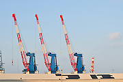 Israel, Haifa, Port of Haifa, the largest port in Israel. Three Derrick Cranes