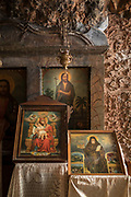 Paintings in chapel carved in rock at Monastery of Agios Menas, Neohori, Chios, Greece