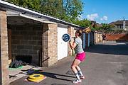 Maidenhead, Berkshire, 14th May 2020, GB Rowing Team senior squad member, Sara PARFITT, weight training through the Covid-19 Lockdown at her garage, [© Peter SPURRIER/Intersport Images]