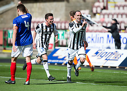 Dunfermline's Michael Moffat cele scoring their third goal. <br /> Half time : Dunfermline 4 v 0 Cowdenbeath, SPFL Ladbrokes League Division One game played 15/8/2015 at East End Park.