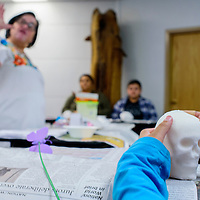Roberta Saldana runs a workshop on making and decorating sugar skulls at the Octavia Fellin Public Library in Gallup Thursday. The skulls are a traditional treat for the Mexican holiday Dia de los Muertos.