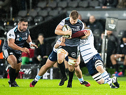 Olly Cracknell of Ospreys tries to break through<br /> <br /> Photographer Simon King/Replay Images<br /> <br /> Guinness PRO14 Round 8 - Ospreys v Cardiff Blues - Saturday 21st December 2019 - Liberty Stadium - Swansea<br /> <br /> World Copyright © Replay Images . All rights reserved. info@replayimages.co.uk - http://replayimages.co.uk
