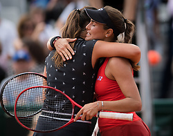 May 30, 2019 - Paris, FRANCE - Daria Kasatkina of Russia & Monica Puig of Puerto Rico at the net after their second-round match at the 2019 Roland Garros Grand Slam tennis tournament (Credit Image: © AFP7 via ZUMA Wire)
