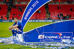 Branislav Ivanovic of Chelsea has a moment to himself  after winning the Capital One Cup Final - Photo mandatory by-line: Rogan Thomson/JMP - 07966 386802 - 01/03/2015 - SPORT - FOOTBALL - London, England - Wembley Stadium - Chelsea v Tottenham Hotspur - Capital One Cup Final.