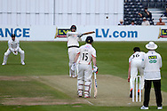 Jordan Clark hits the ball for four runs during the LV County Championship Div 2 match between Gloucestershire County Cricket Club and Lancashire County Cricket Club at the Bristol County Ground, Bristol, United Kingdom on 7 June 2015. Photo by Alan Franklin.