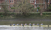 Hammersmith, Greater London, 15th  March 2020, Pre Boat Race Fixture Oxford University Women's Boat Club, OUWBC vs University of London,  UL, passing Harrods Depository,  Championship Course, Putney to Mortlake, River Thames, [Mandatory Credit: Peter SPURRIER/Intersport Images], Bow. Renée Koolschjin, 2. Kaitlyn Dennis, 3. Isobel Dodds, 4. Georgina Grant, 5. Martha Birtles, 6. Amelia Standing, 7. Tina Christmann, Stroke. Katherine Maitland, Cox. Costi Levi,