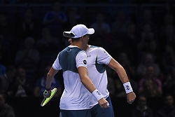 November 13, 2017 - London, United Kingdom - Bob and Mike Bryan of the United States celebrate victory in the Doubles match against Jamie Murray of Great Britain and Bruno Soares of Brazil during day two of the Nitto ATP World Tour Finals at O2 Arena, London on November 13, 2017. (Credit Image: © Alberto Pezzali/NurPhoto via ZUMA Press)