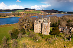 Aerial view of Elcho Castle near Rhynd, Perthshire, Scotland UK