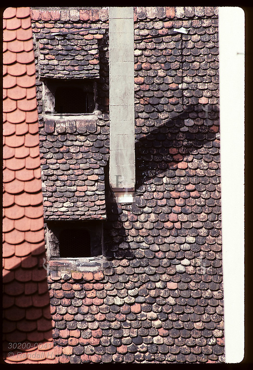 Detail of tile roofs and dormer windows forms abstract design on a sunny day in Strasbourg. France