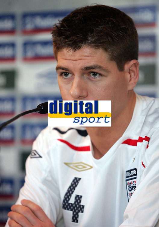 Photo: Paul Thomas.<br />England Press Conference. 05/02/2007.<br /><br />Steven Gerrard talks to the media after the new England Kit  launch.