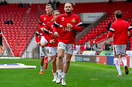 Doncaster Rovers forward Alfie May warms up during the EFL Sky Bet League 1 match between Doncaster Rovers and Bradford City at the Keepmoat Stadium, Doncaster, England on 22 September 2018.