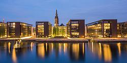 Twilight over Nordea offices, Christianshavn, Copenhagen, Denmark. 25/05/14. Photo by Andrew Tallon