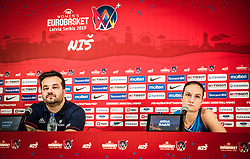 Damir Grgic, head coach of Slovenia and Nika Baric of Slovenia during press conference after the basketball match between Women National teams of Italy and Slovenia in Group phase of Women's Eurobasket 2019, on June 30, 2019 in Sports Center Cair, Nis, Serbia. Photo by Vid Ponikvar / Sportida