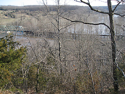 100 Year Flood of the Big Piney River at Old US Route 66 near Devils Elbow, MO on 19 March 2008. Showing the extent of river flooding at the Old Army Railroad Bridge and Trestle.