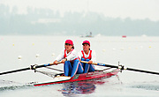 Tampere Kaukajaervi,  FINLAND.   Women's pair, FRA W2-. Celine CUISANT-GARCIA  and Christine GOSSE, competing at the 1995 World Rowing Championships - Lake Tampere, 08.1995<br /> <br /> [Mandatory Credit; Peter Spurrier/Intersport-images] Re-Edited and file ref No. updated, 16th January 2021.