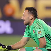 EAST RUTHERFORD, NEW JERSEY - JUNE 17: David Ospina #1 of Colombia prepares the defensive wall during the Colombia Vs Peru Quarterfinal match of the Copa America Centenario USA 2016 Tournament at MetLife Stadium on June 17, 2016 in East Rutherford, New Jersey. (Photo by Tim Clayton/Corbis via Getty Images)
