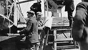 John William Alcock (1892-1919) and Arthur Whitten Brown (1886-1948) British aviators. First men to fly Atlantic non-stop, 14 June 1919.