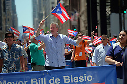 June 11, 2017 - New York, New York, United States - Mayor Bill de Blasio at the Puerto Rican Day Parade on fifth Avenue on June 11 2017 in New York City  (Credit Image: © Curtis Means/Ace Pictures via ZUMA Press)