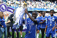 Ngolo Kante of Chelsea with the Premier League Trophy. Premier league match, Chelsea v Sunderland at Stamford Bridge in London on Sunday 21st May 2017.<br /> pic by Steffan Bowen,  Andrew Orchard sports photography.