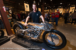 Max Hazan with his Harley-Davidson Ironhead supercharged Sportster at the Handbuilt Motorcycle Show. Austin, TX, . April 11, 2015.  Photography ©2015 Michael Lichter.