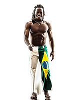 one Brazilian black man walking smiling on white background