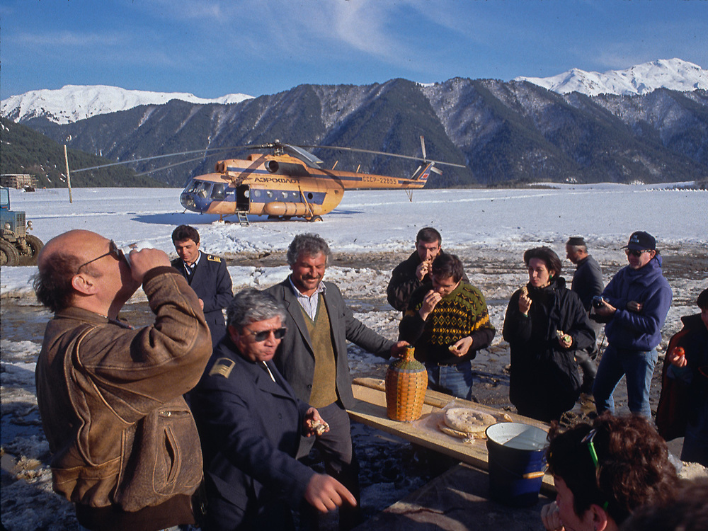 Greg Palmer gives a toast,  spontaneous party, Village of Omelo ,Soviet Socialist Republic of Georgia, The Falcon Production, spring 1990
