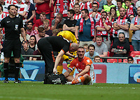 Football - 2017 Sky Bet [EFL] League Two Play-Off Final - Blackpool vs. Exeter City<br /> <br /> Tom Aldred of Blackpool  looks miserable as he realises his match is over after pulling up with an injury at Wembley.<br /> <br /> COLORSPORT/DANIEL BEARHAM