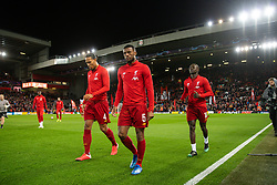 LIVERPOOL, ENGLAND - Wednesday, March 11, 2020: Liverpool's Virgil van Dijk and Georginio Wijnaldum during the pre-match warm-up before the UEFA Champions League Round of 16 2nd Leg match between Liverpool FC and Club Atlético de Madrid at Anfield. (Pic by David Rawcliffe/Propaganda)