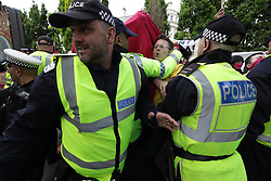 June 11, 2017 - Manchester, Greater Manchester, UK - Manchester , UK .  Demonstration against Islamic hate , organised by former EDL leader Tommy Robinson's '' UK Against Hate '' and opposed by a counter demonstration of anti-fascist groups . UK Against Hate say their silent march from Piccadilly Train Station to a rally in Piccadilly Gardens in central Manchester is in response to a terrorist attack at an Ariana Grande concert in Manchester , and is on the anniversary of the gun massacre at the Pulse nightclub in Orlando  (Credit Image: © Joel Goodman/London News Pictures via ZUMA Wire)
