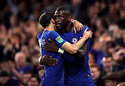 Chelsea's Antonio Rudiger celebrates scoring his side's first goal of the game with Davide Zappacosta (left)