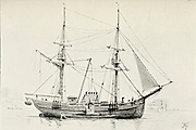 Sketch of a collier [a coal ship] from the book ' Pen and pencil sketches of shipping and craft all round the world ' by Pritchett, Robert Taylor Published in London in 1899