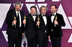 Paul Lambert, Ian Hunter, Tristan Myles and J.D Schwalm with their Best Visual Effects Oscar for First Man in the press room at the 91st Academy Awards held at the Dolby Theatre in Hollywood, Los Angeles, USA.