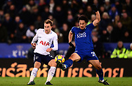 Christian Eriksen of Tottenham Hotspur battles with Shinji Okazaki of Leicester city (r) .Premier league match, Leicester City v Tottenham Hotspur at the King Power Stadium in Leicester, Leicestershire on Tuesday 28th November 2017.<br /> pic by Bradley Collyer, Andrew Orchard sports photography.