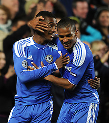 19.10.2011, Stamford Bridge Stadion, London, ENG, UEFA CL, Gruppe E, Chelsea FC (ENG) vs Racing Genk (BEL), im Bild Chelsea's Salomon Kalou is congratulated by team-mate Florent Malouda after scoring his side's fifth goal // during UEFA Champions League group E match between Chelsea FC (ENG) and Racing Genk (BEL) at Stamford Bridge Stadium, London, United Kingdom on 19/10/2011. EXPA Pictures © 2011, PhotoCredit: EXPA/ Propaganda Photo/ Chris Brunskill +++++ ATTENTION - OUT OF ENGLAND/GBR+++++