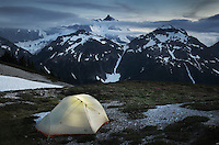 Backcountry camp on Hannegan Peak overlooking Mount Shuksan, North Cascades Washington