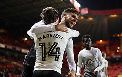 Jack Marriott of Peterborough United celebrates scoring his goal with team-mate Ryan Tafazolli - Mandatory by-line: Joe Dent/JMP - 28/11/2017 - FOOTBALL - The Valley - Charlton, London, England - Charlton Athletic v Peterborough United - Sky Bet League One