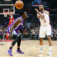 26 March 2016: LA Clippers guard Chris Paul (3) passes the ball over Sacramento Kings guard Darren Collison (7) during the Sacramento Kings 98-97 victory over the Los Angeles Clippers, at the Staples Center, Los Angeles, California, USA.